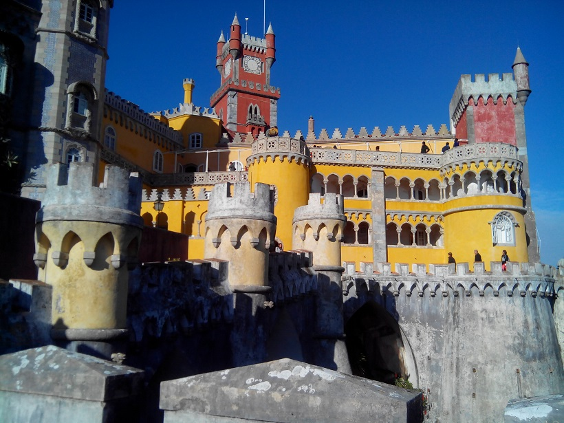 The palace stands on the top of a hill above the town of Sintra.
