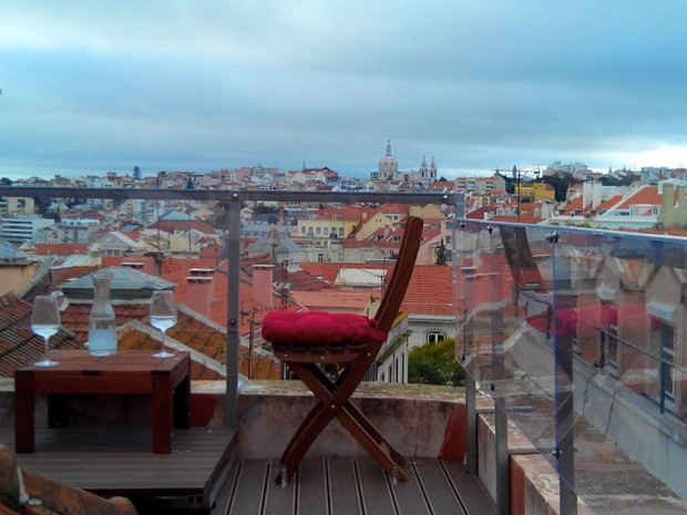 Lisbon's duplex two bedroom two bathroom has this unique rooftop terrace, ideal for morning coffee or afternoon drinks.