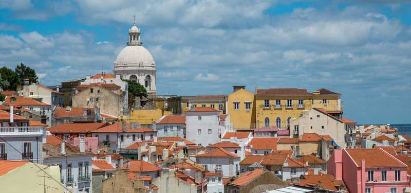 Lisbon rooftops with cathedral