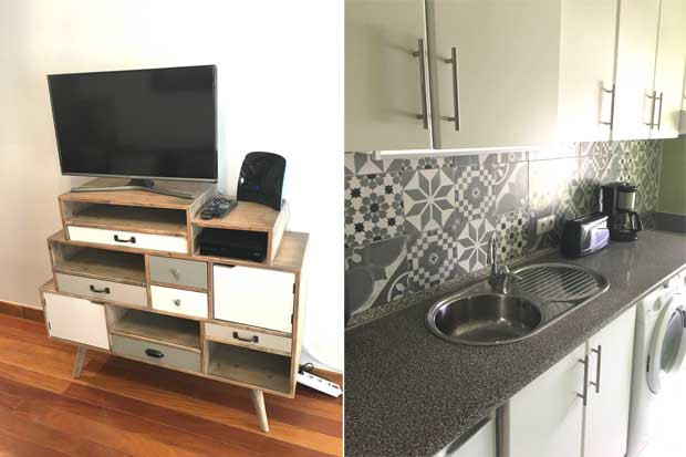 Television and kitchen