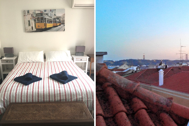 Master bedroom, and view over the rooftops