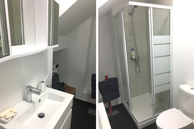 Shower room, basin and WC