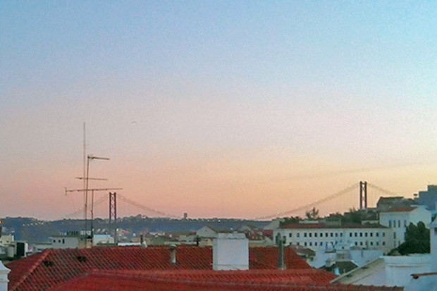 View from the terrace at sunset: 25 April bridge